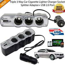 3 Socket DC 12/24 V Multi Socket Car Lighter Cigarette Splitter USB Plug Charger