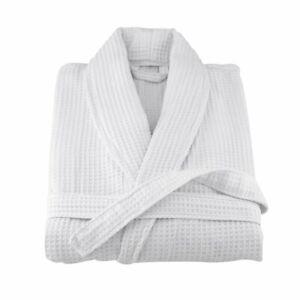 100% Cotton Bath Robe Dressing Gown Waffle Sleepwear Bathrobe Nightgown