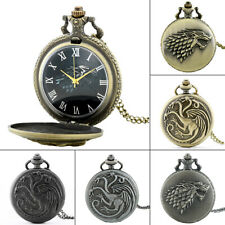 Vintage Full Hunter Pocket Watch Game Of Thrones Retro Quartz Necklace Chain NEW