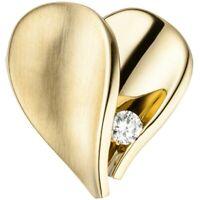 Anhänger Herz mit Diamant Brillant 585 Gold Gelbgold mattiert Goldanhänger Damen