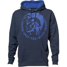 """DIESEL MENS AGNES HOODY - NAVY BLUE/BLUE - """"ONLY THE BRAVE"""" LOGO - SMALL – BNWT"""