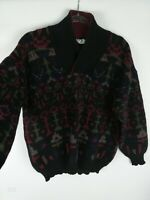 Italy Relaxed Classics Black Red Wool Blend Vintage Pullover Jumper Size S M