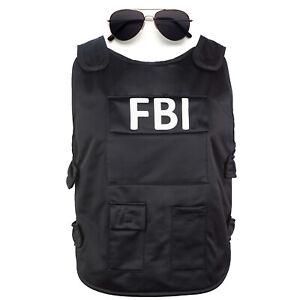 FBI Set Weste und Brille Kostüm Verkleidung Herren Swat Fasching Karneval Männer