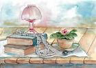 original painting A3 15VX art samovar watercolor modern still life Signed