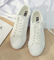 Women Sneakers Fashion Breathble  Shoes leather Platform Lace up Casual