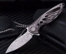 "RIKE KNIFE Hummingbird Damascus Titanium  (3.75"" Overall) Mini Flipper Knife-NEW"