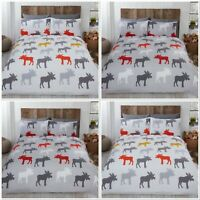 Rapport Moose 100% Brushed Cotton Flannelette Duvet Cover Bed Set Red Or Ochre