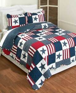 4th July Americana Patriotic Quilt Set Red & Blue Stars & Stripes F/Q Quilt Set