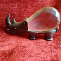 Superbe objet de curiosité décorateur rhinoceros pampille cristal et étain