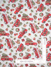 Christmas Bus Car Camper Truck Toss Cotton Fabric Springs CP66692 By The Yard