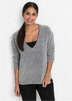 Oversized Soft Velvety Feel Shimmering Chenille Knit  Deep V Neck Jumper