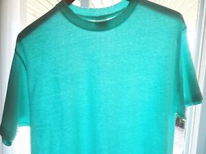 L Vtg 80s Royal First Class Teal Green Blank Distressed Surf Skate 50/50 T-Shirt