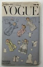 Vtg 50s Vogue Infant Baby 9 Piece Layette Wardrobe Sewing Pattern 2751