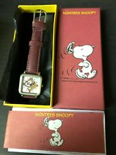 More details for peanuts boxed snoopy square face analogue wrist watch red leather strap opex 00s