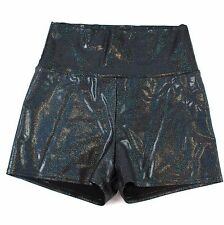 American Apparel Holographic Gray Glitter Booty Shorts Roll Waist Womens L