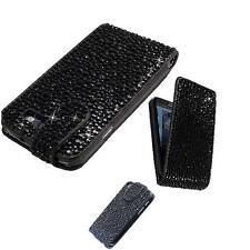 LUXUS Samsung Galaxy S4 i9500 i9505 Strass Flip Tasche Bling Hülle Schwarz