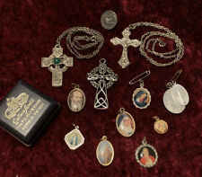Lot Of Holy Medals Pendants Celtic Cross Crucifix Chain Religious Collection