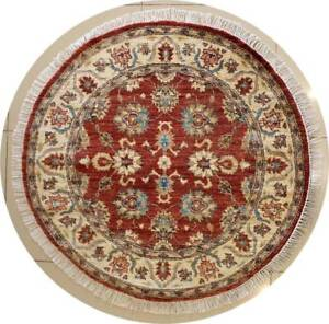 Rugstc 4x4 Senneh Chobi Ziegler Red Area Rug,Natural dye, Hand-Knotted,Wool Pile