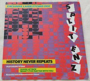 "Split Enz - History Never Repeats - 7"" Vinyl Single 1981 Laser Etched"