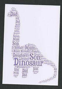 A4 DINOSAUR PERSONALISED WORD ART  - BIRTHDAY/XMAS GIFT - SON/CHILD/JURASSIC (A)