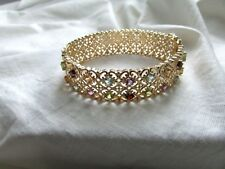 18K Yellow Gold Over 925 Sterling Silver Multi Gemstone Bangle Bracelet $389