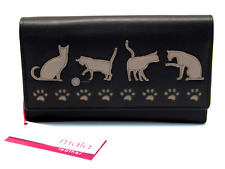 MALA Leather Cat Purse Black Ladies Matinee Coin Card Holder Wallet Purses RFID