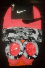 Nike Baby Infant Newborn Black/Neon Org/Gray Booties Socks and Hat Set 0-6 Mos.
