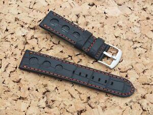 Genuine Leather Quick Release Rally Watch Strap 24mm Black by Watchgecko/Geckota