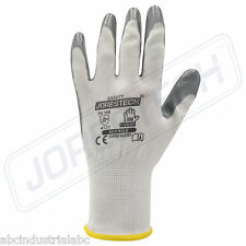 Grey Nitrile Dipped Poly Work Gloves Size-Medium ( 12 Pairs ) 1 Dozen