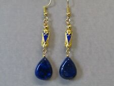 Lapis Lazuli Pear Drops & Gold Blue Enamel Barrels Gold Plated Earrings Nice!