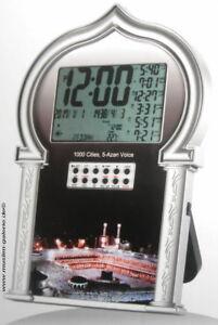 Ezan Saati Gebetsuhr Azan Uhr Clock 1000 City in Silber  *Islam muslim Allah*