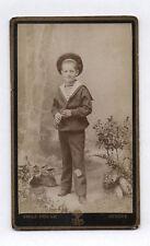 PHOTO ANCIENNE CDV Enfant Garçon Emile Pricam Genève Marin Flûte Costume 1900