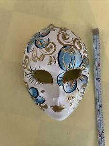 Mardi Gras/Carnival/Venetian Blue Ceramic Face Masks - Wall Hanging Decor