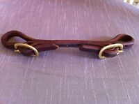 OILED HARNESS LEATHER CURB STRAP - 2 BUCKLE - DOUBLED & STITCHED - EXCELLENT!