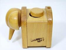 Wooden Elephant Wind Up Music Box Plays YESTERDAY Japan Chubby Rest Wood