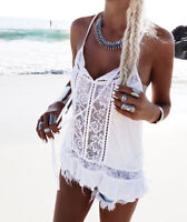 Sexy Womens Ladies Summer Beach Vest T Shirt Sleeveless Lace Chiffon Tank Tops