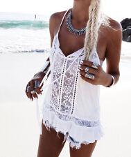 Fashion Women Ladies Summer Beach Vest T Shirt Sleeveless Lace Chiffon Tank Tops