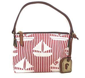 Dooney & Bourke Small Handbag Sailboats Striped Pouchette Nautical