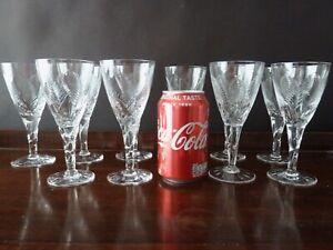 """10 Stuart Crystal Ellesmere Cut Wine Glasses, Not Signed, h15,2cm (6"""")"""