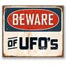 2 x 10cm Beware of UFO's Vinyl Sticker iPad Laptop Car X-Files Alien Gift #5194