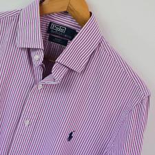 Mens Polo Ralph Lauren Purple White Custom Fit Long Sleeve Shirt Size L Large