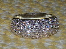 SILVER PLATED PAVE CZ RING BAND...SZ 9