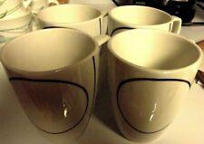 (4)  CORELLE COORDINATES MUGS / CUPS- BLACK / WHITE SIMPLE LINES --PORCELAIN