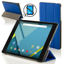 Leather Blue Folding Case Cover for HTC Google Nexus 9 + Screen Prot & Stylus