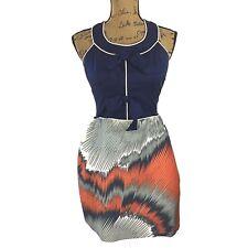 THREAD Social Dress 6 M Silk Navy Blue Gray Orange Bow Piping Pocket ADORABLE