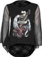 Hüftlang Damenblusen,-Tops & -Shirts mit V-Ausschnitt und Baumwollmischung ohne Muster