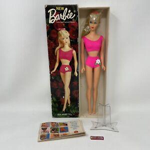 1960's MATTEL 1190 Barbie BLONDE Straight-leg Standard Doll W/ Box Tag Stand