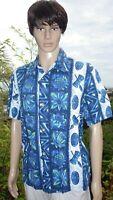 Vintage 1950 era Blue Ui-Maikai Hawaii Hawaiian Aloha Shirt Tiki Drums Pineapple