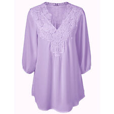 Women's Lace  Loose Long Sleeve Casual T-Shirt  Chiffon Tee Plus Size Blouse Top