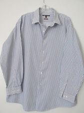 BCBG Attitude  Blue Striped Modern Fit Button Down Dress Shirt SIZE: XL 17.5